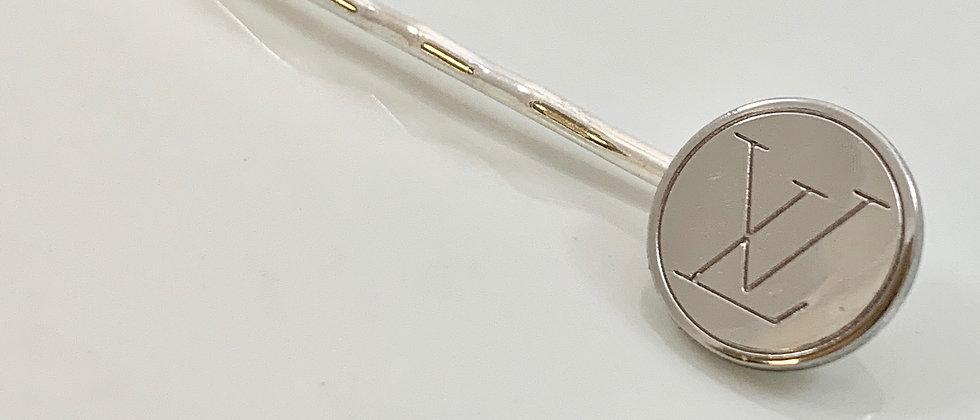 Vintage Repurposed Louis Vuitton Silver Button Hair Pin