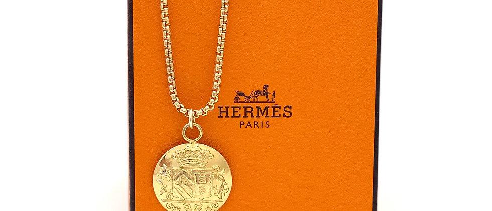 "Repurposed Vintage 1990's Hermès Large Gold ""H"" Charm Necklace"