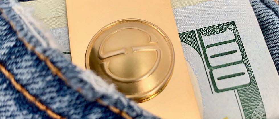 Vintage Repurposed Gucci GG Button 14K Gold Money Clip