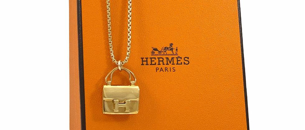 Vintage Repurposed Very RARE Hermès Constance H Bag Gold Charm Necklace