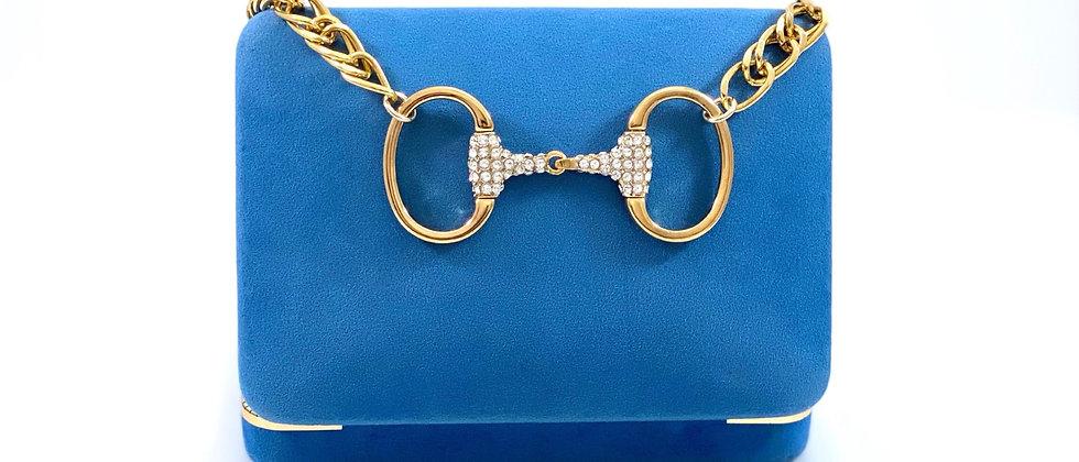 Repurposed Vintage Gucci Rare Gold & Swarovski Horsebit Choker Necklace