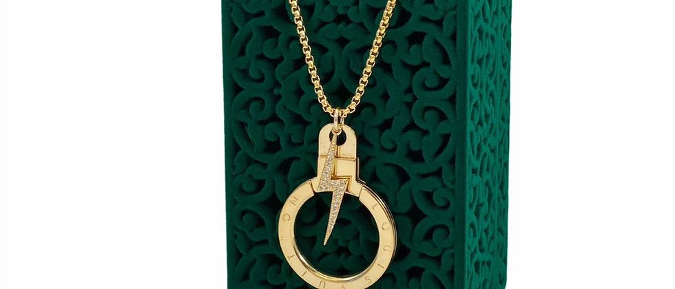 Repurposed Louis Vuitton Large Gold Ring & CZ Lightning Bolt Necklace