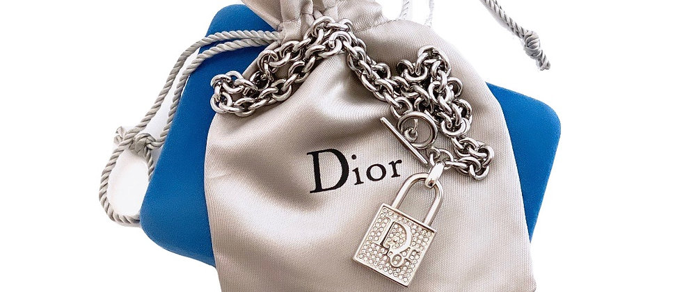 Vintage Repurposed Silver RARE Dior Crystals Lock Toggle Choker Necklace