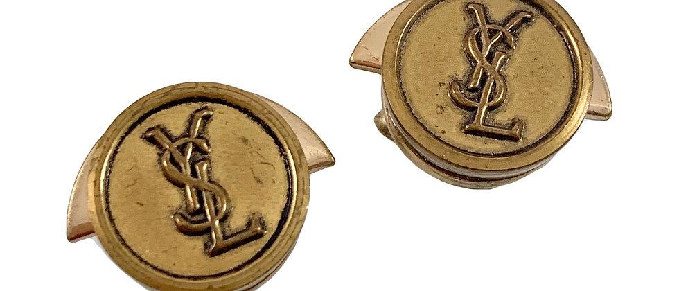 Vintage Repurposed YSL Antiqued Gold Vintage Cuff Links