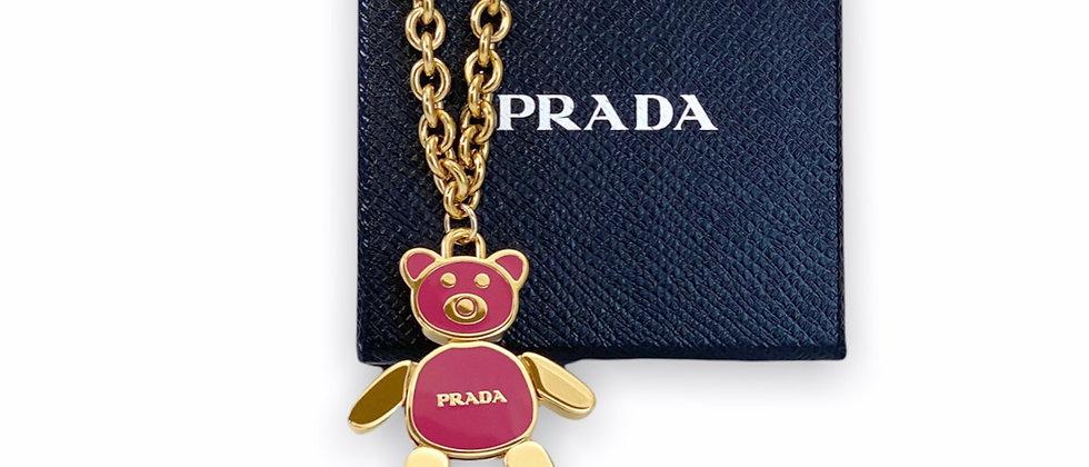Repurposed Medium Gold & Peonia Pink XXL Prada Bear Charm Necklace