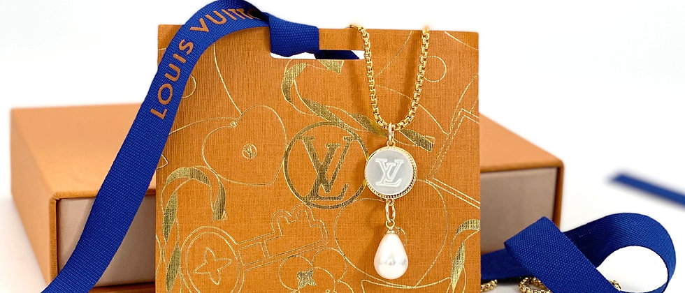 Repurposed Louis Vuitton Mother of Pearl Charm Necklace