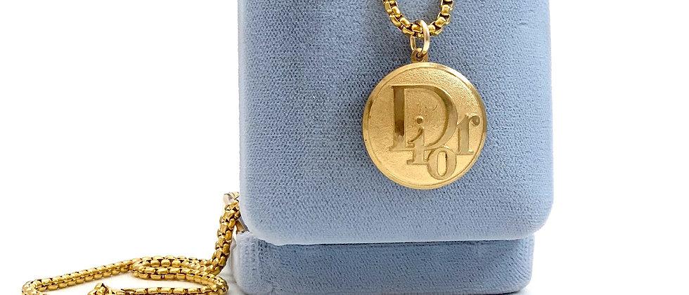 Vintage Repurposed Rare Gold Dior Logo Large Charm Necklace