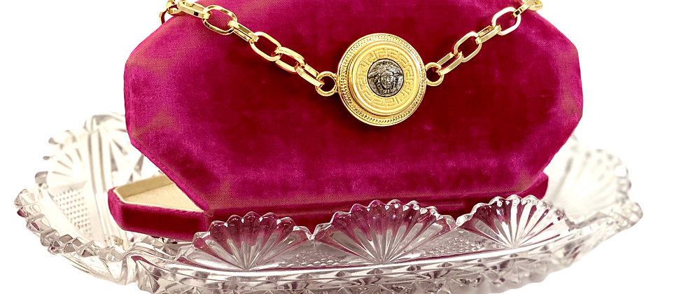 Vintage Repurposed Versace Silver & Gold Medusa Large Paperclip Choker Necklace
