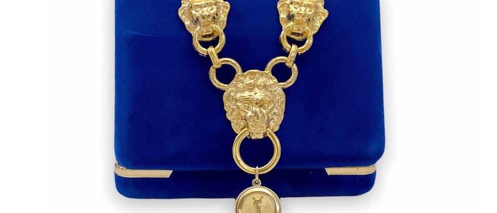 Vintage Repurposed YSL Gold Charm & Lion Choker Statement Necklace