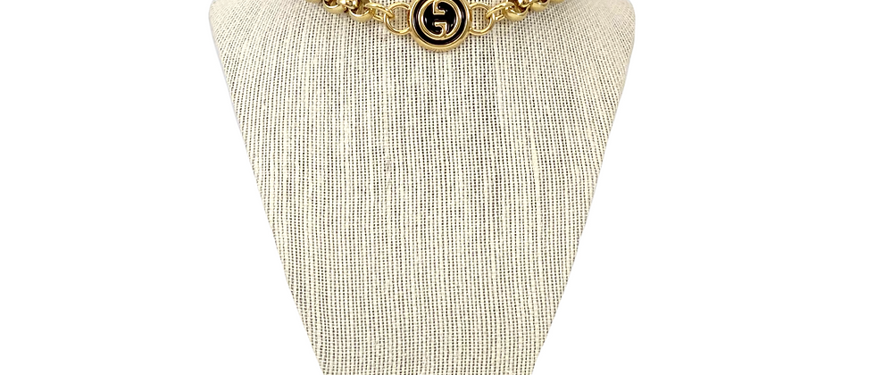 Repurposed Large Black & Gold Gucci GG Chunky Choker Necklace