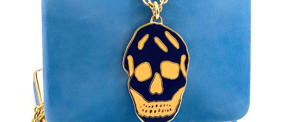 Repurposed Alexander McQueen Navy & Orange XL Skull Necklace