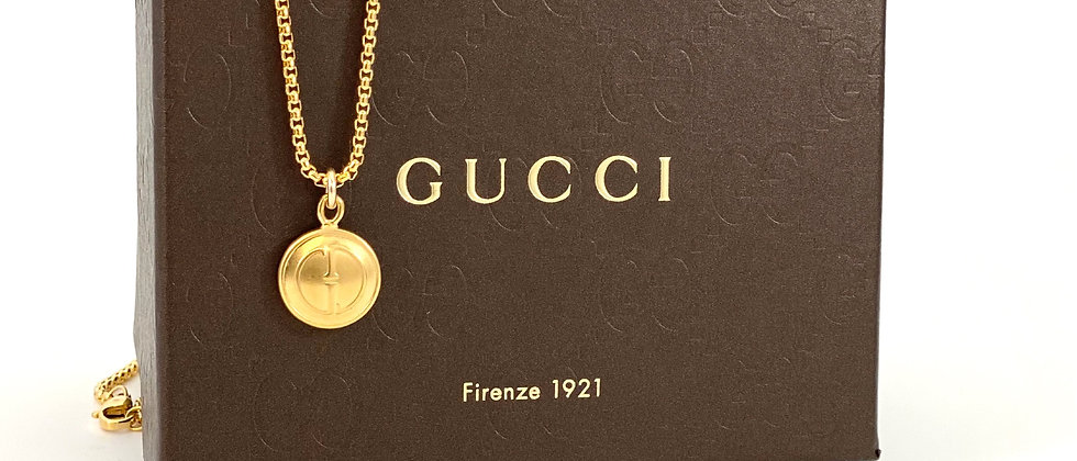 Repurposed Vintage Gucci GG Medium Double Sided Charm Necklace