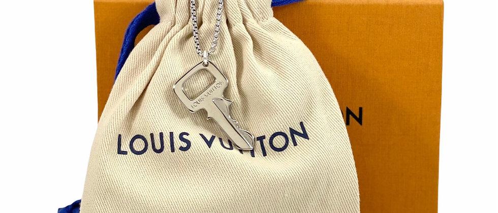 Repurposed Louis Vuitton Large Rare Silver Key Charm Necklace