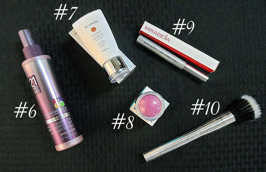 Pureology, leave in conditioner, makeup, cc creme, mascara, mirabella, blush, makeup brush
