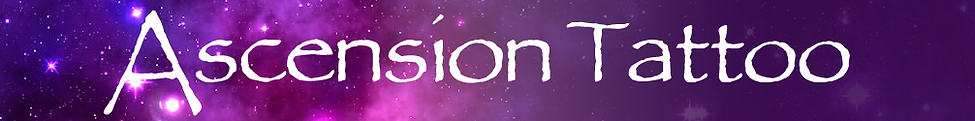 Ascension tattoo logo. White lettering on purple star lit galaxy background