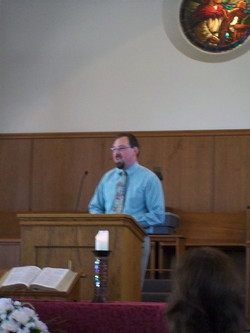 Chris doing what he loves, Preaching the WORD!!!