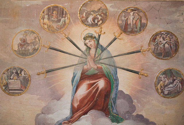 This fresco of Our Lady being pierced by seven sorrows is in the church of S. Stefano Rotondo in Rome. (Photo by Lawrence OP)