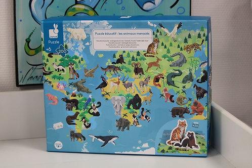 Puzzle éducatif les animaux menacés