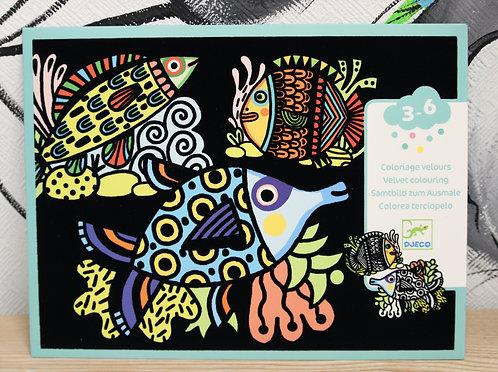 Jolis poissons coloriage velours