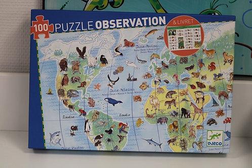 Puzzle d'observation animaux du monde 100 pièces