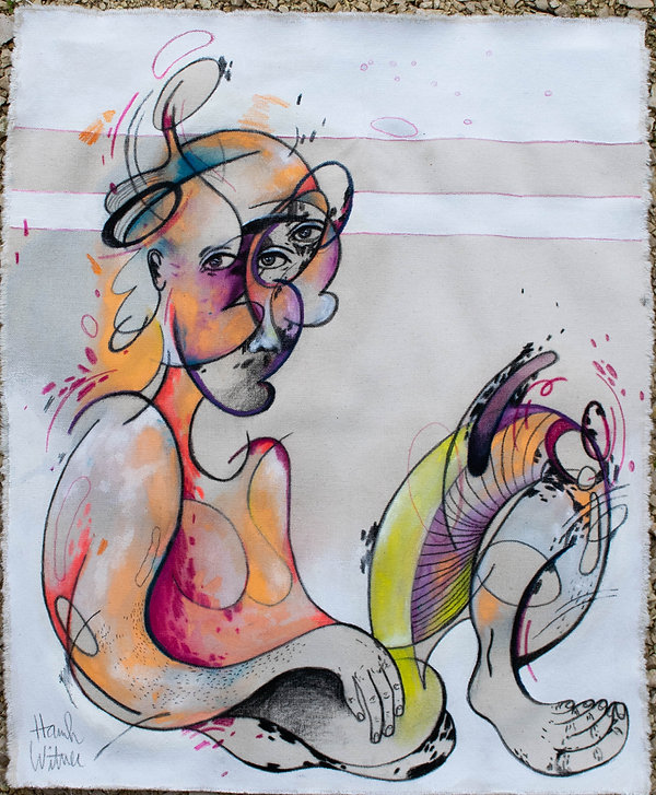 body 4, mixed media on canvas, 18x24, 20
