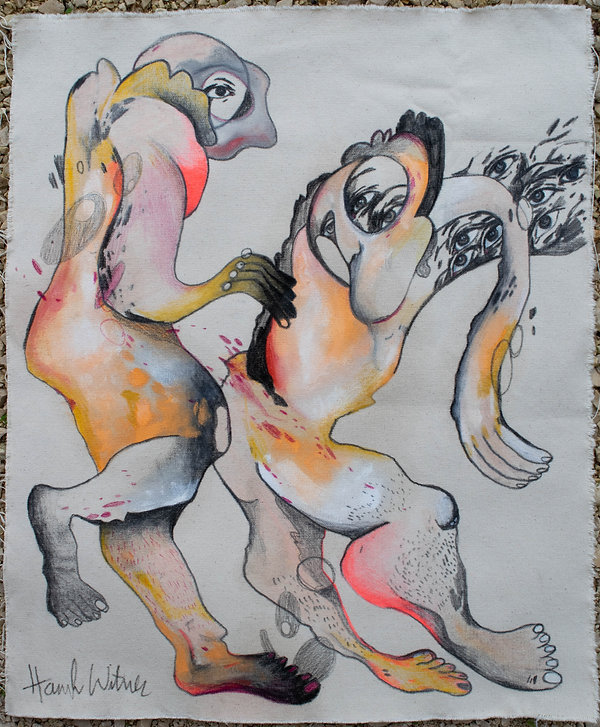 body 2, mixed media on canvas, 18x24, 20