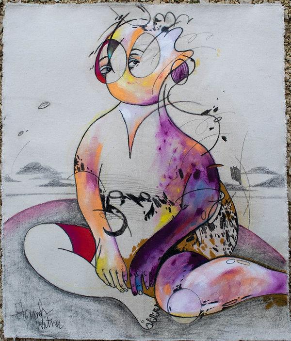 body 3, mixed media on canvas, 18x24, 20