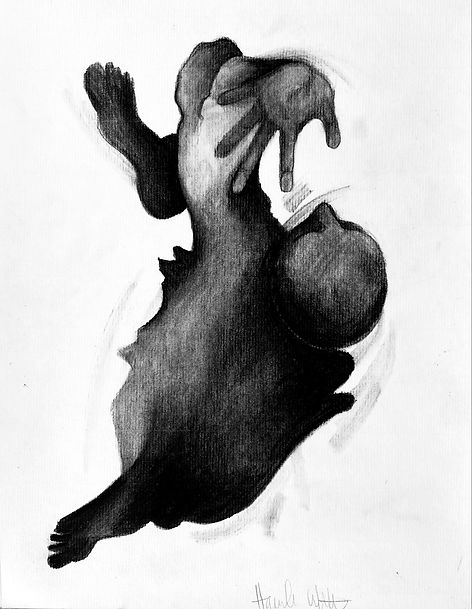 Darkness as it was, charcoal on paper, 9