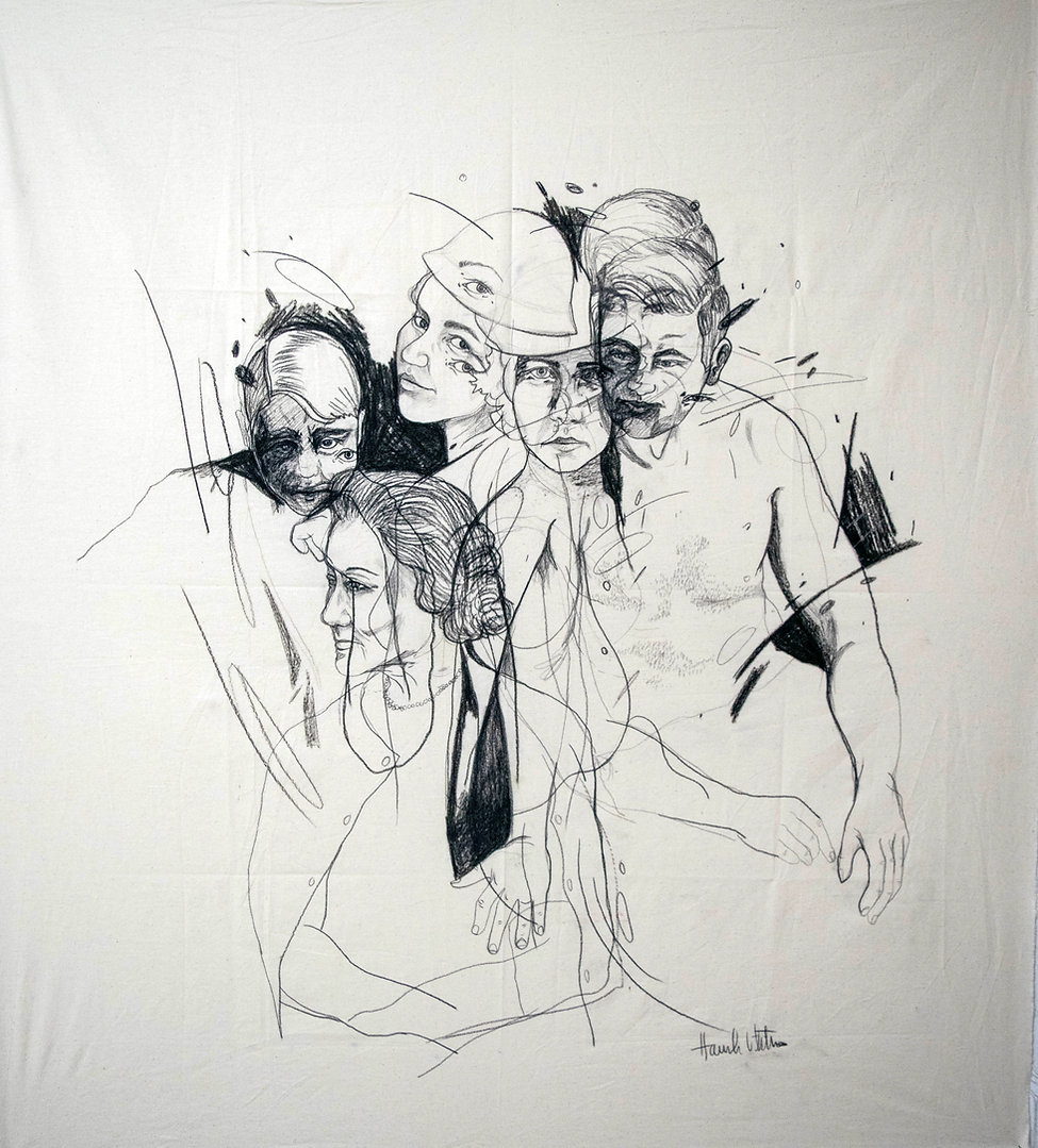 The People, graphite and charcoal on canvas, 40X40', 2021.jpg