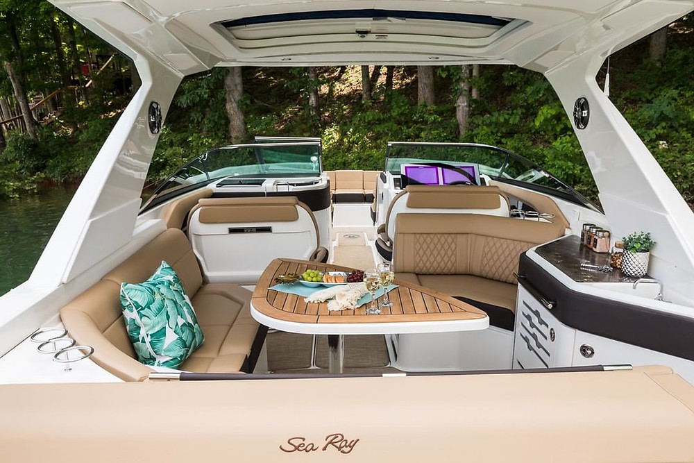 Sea Ray cruiser stern lounge