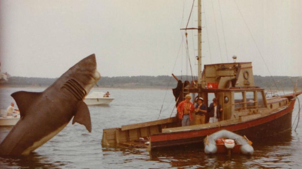 Jaws shark attacking boat