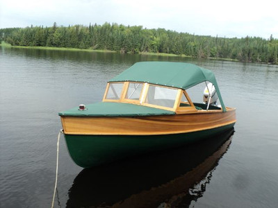 Giesler wooden boat with Bimini
