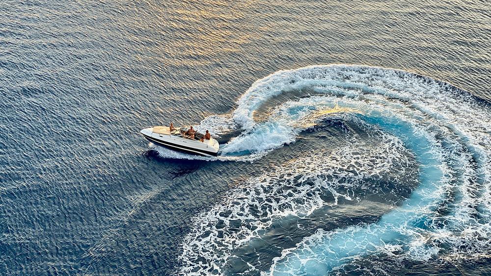 Boat turning creating wake