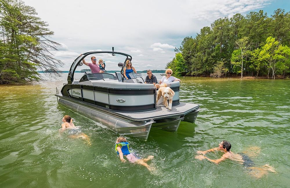 Manitou MY2 Sport LX pontoon boat family swimming