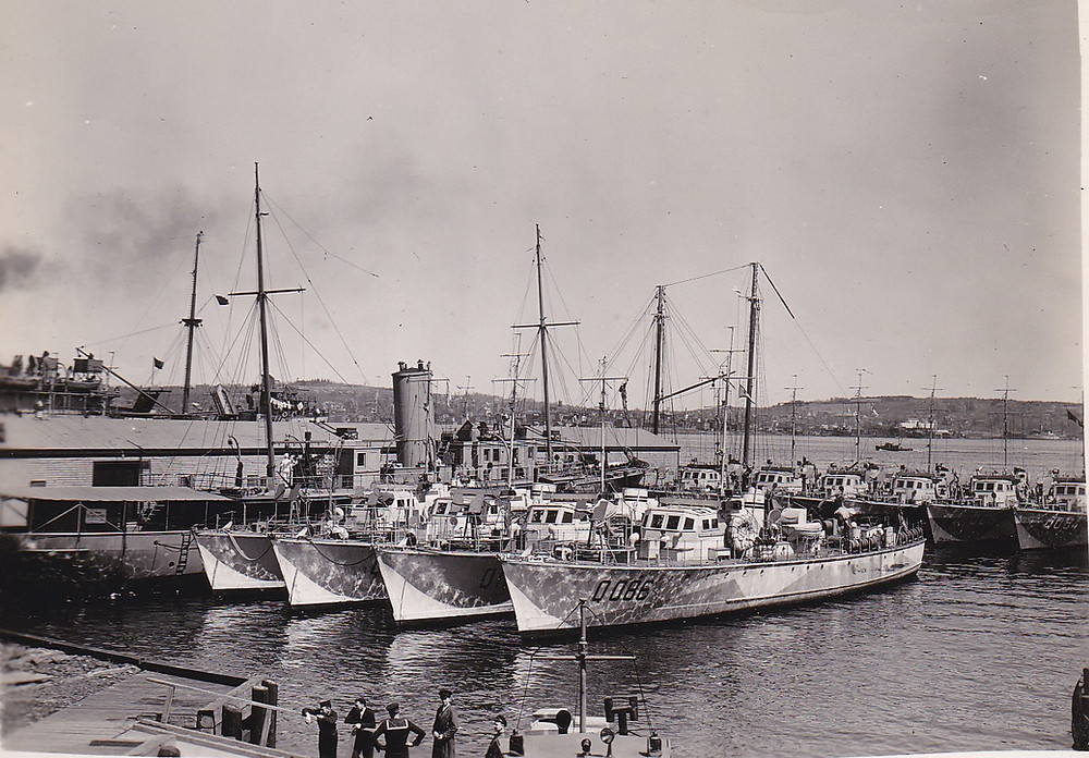 Fairmile B boats tied up in Halifax 1941