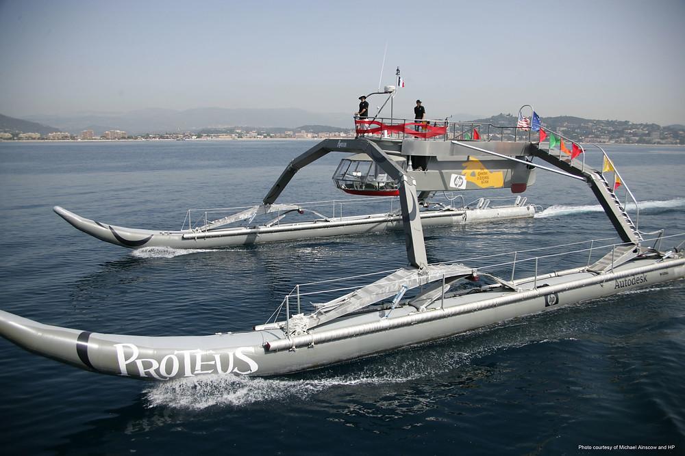 Proteus catamaran at sea