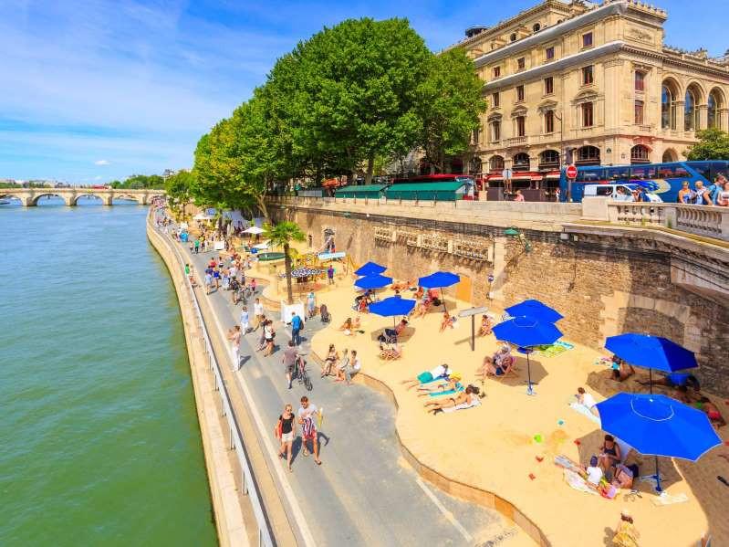 Summer beaches in Paris, France