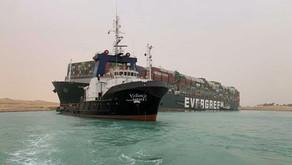 Massive Cargo Ship Stuck Sideways in Suez Canal