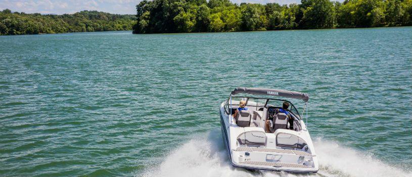 Boat cruising in Green Bay, Wisconsin