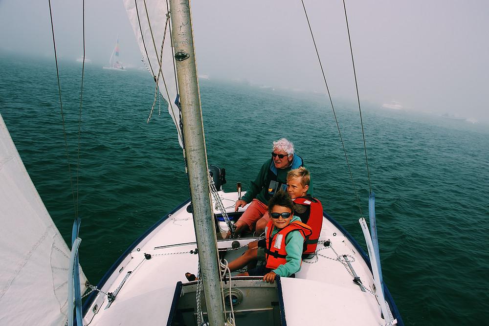 Kids on sailboat
