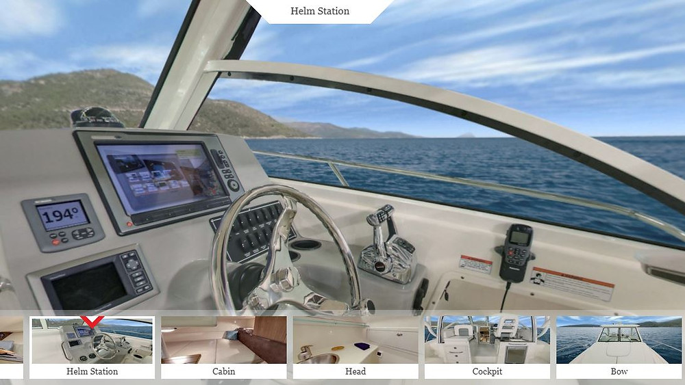 Boston Whaler Conquest 285 virtual tour helm
