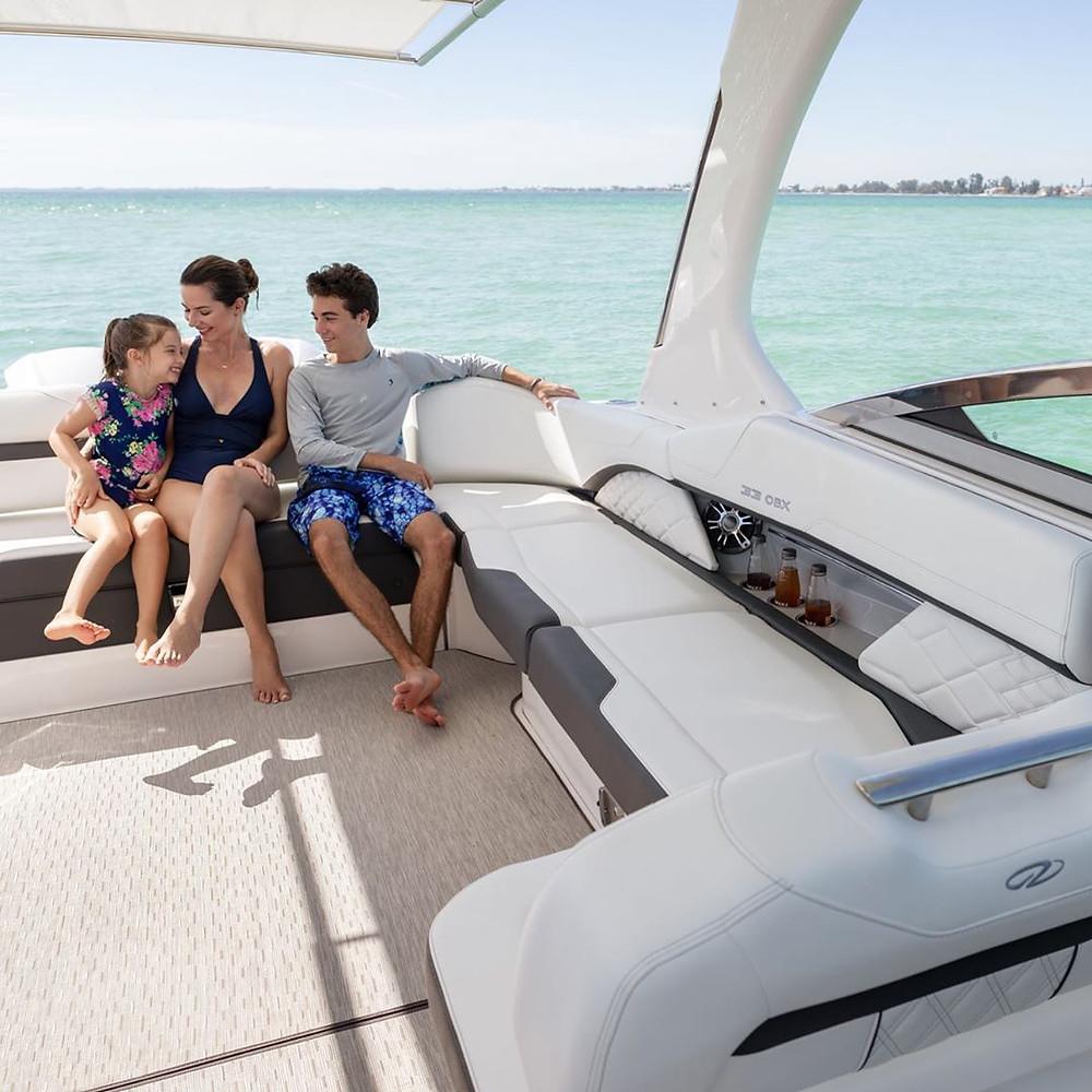 Family onboard boat