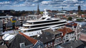 Watch Huge Superyacht Squeeze Through Dutch Canals