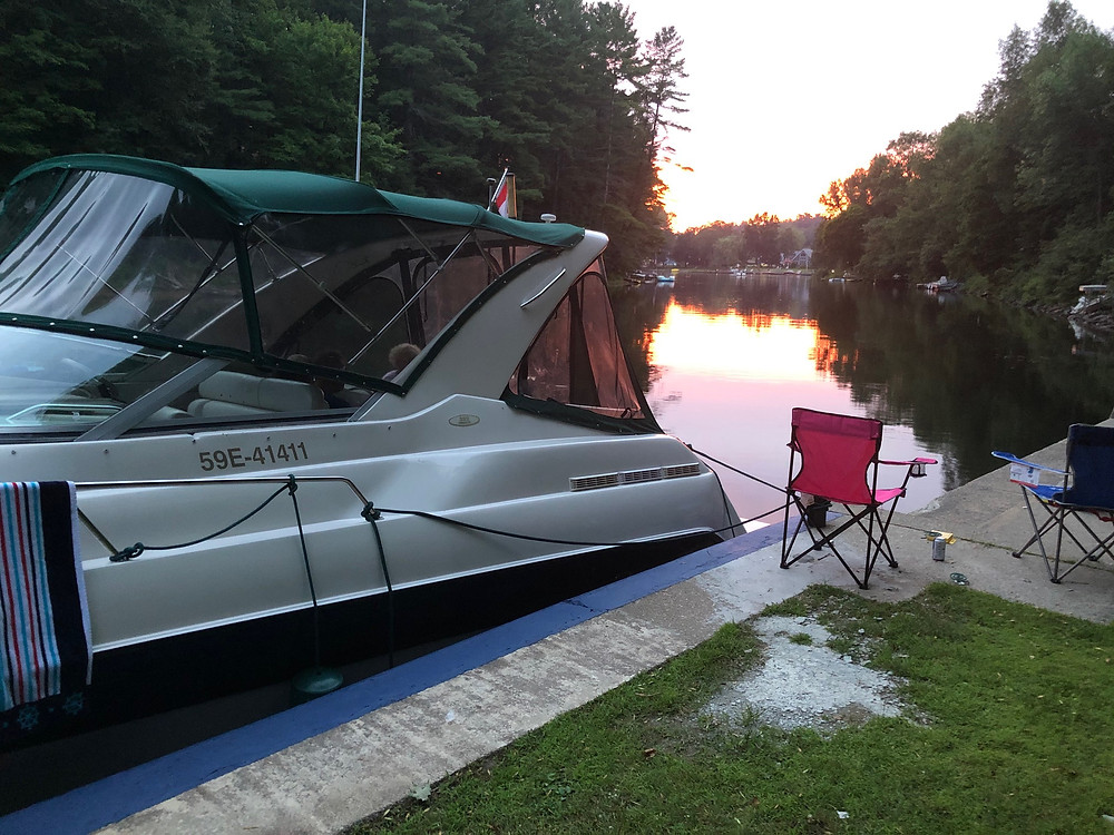 Boat tied up at sunset Trent Severn Waterway