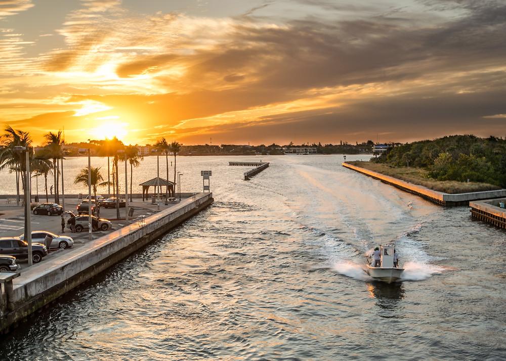 Boynton Beach Florida boating sunset