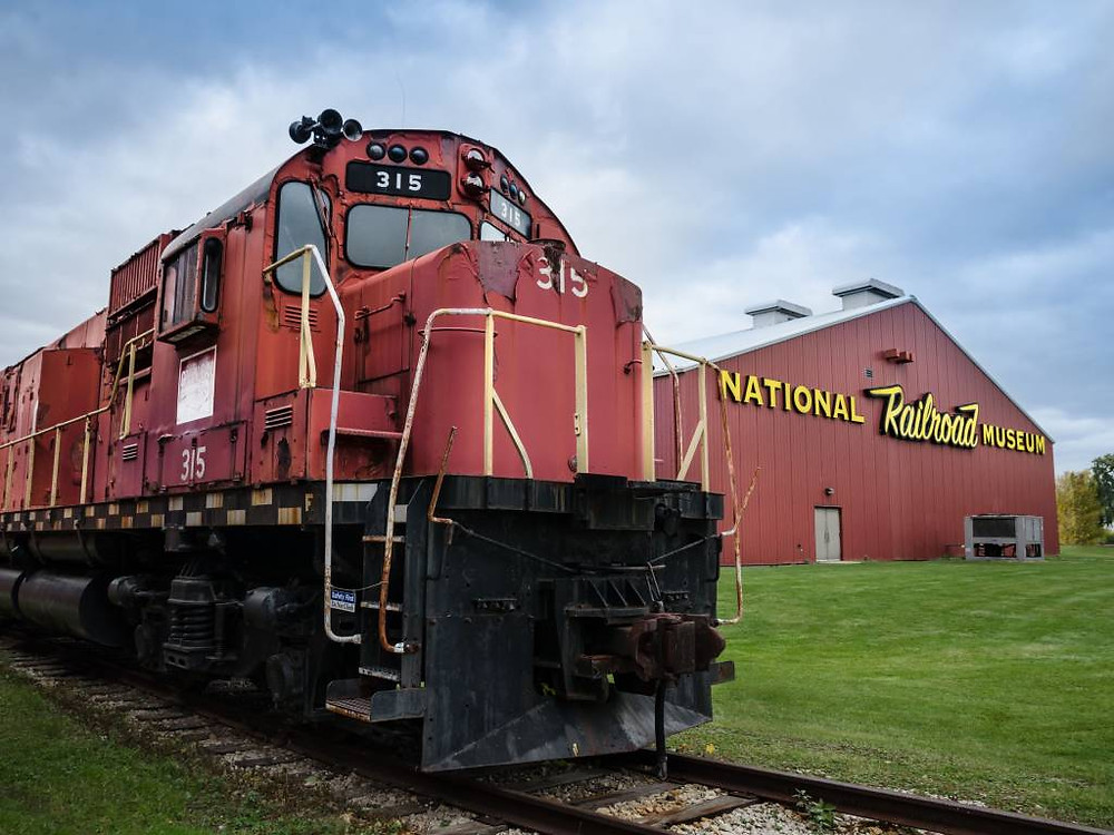 Train on tracks at National Railroad Museum Green Bay, Wisconsin
