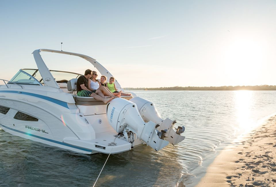 Family relaxing on boat