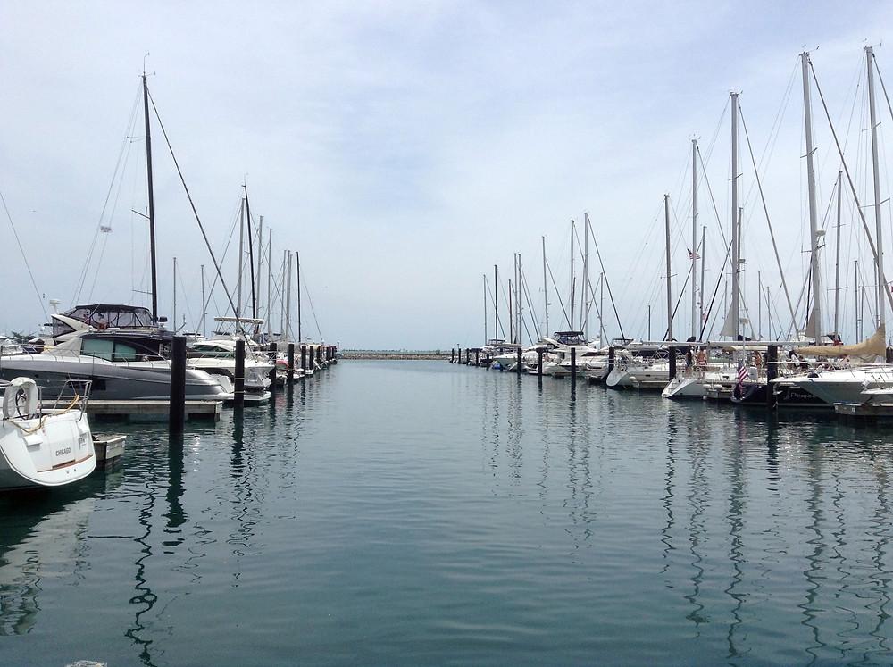 Boats in slips at marina