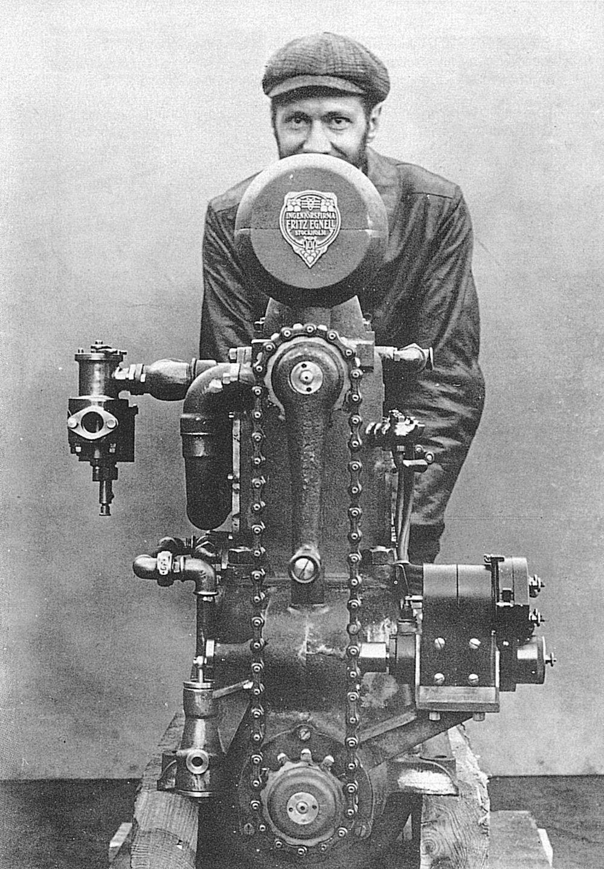 Edvard Hubendick stands behind the first Volvo Penta engine, the Penta B1, in 1907