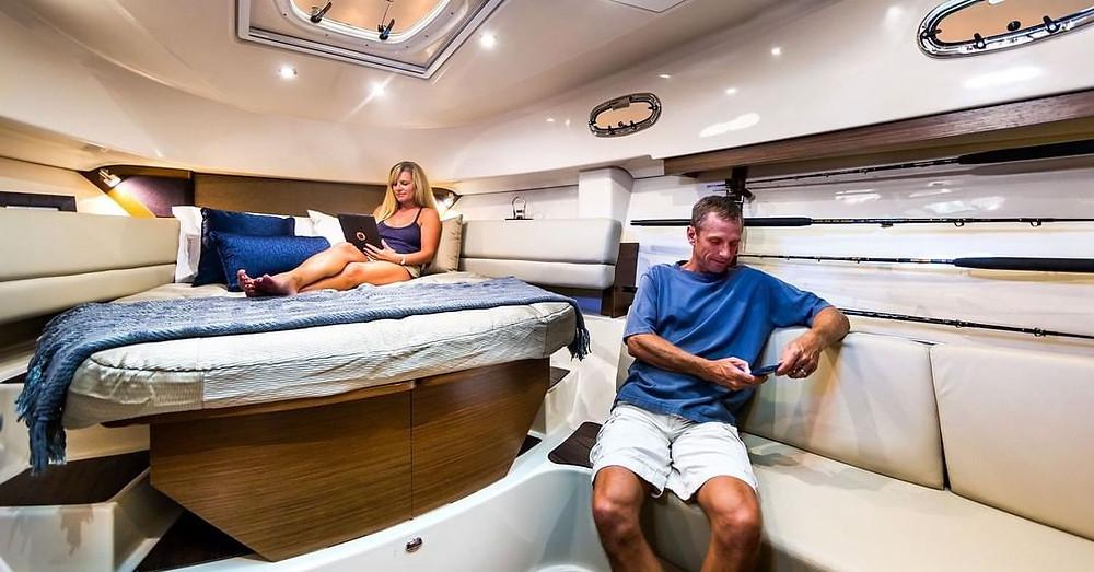 Relaxing in cabin below deck
